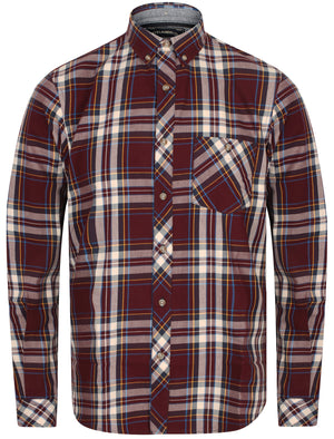 Milan Checked Cotton Long Sleeve Shirt In Burgundy - Tokyo Laundry