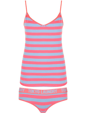Monica Striped Cami Underwear Set In Shocking Pink / Placid Blue – Tokyo Laundry