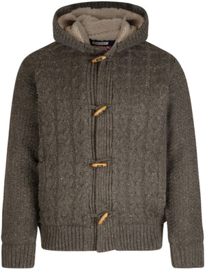 Moray Cable Knit Borg Lined Jacket in Oak Nep - Tokyo Laundry