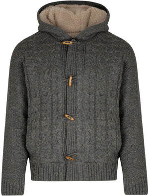 Moray Cable Knit Borg Lined Jacket in Dark Grey Multi Nep - Tokyo Laundry