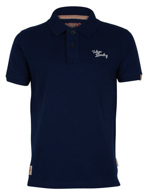 Men's striped undercollar navy polo shirt - Tokyo Laundry