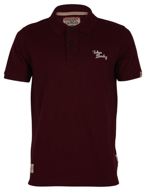 Men's striped undercollar oxblood polo shirt - Tokyo Laundry