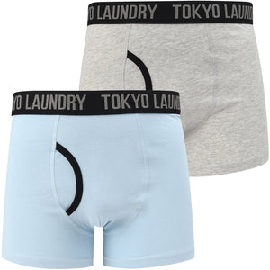 Nantes (2 Pack) Boxer Shorts Set In Light Grey Marl / Angel Falls Blue – Tokyo Laundry