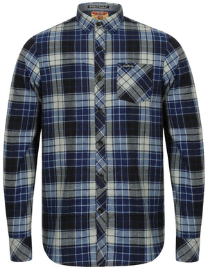 Nashville Checked Long Sleeve Flannel Shirt in Blue Depths – Tokyo Laundry