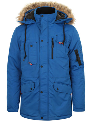 Nicklas Utility Parka Coat with Faux Fur Lined Hood in Olympian Blue - Tokyo Laundry