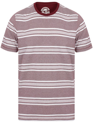 Nissi Cotton Striped Crew Neck T-Shirt In Oxblood – South Shore