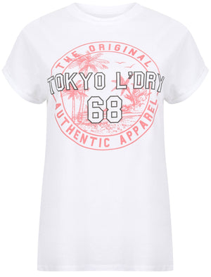 Niyana Cotton Jersey T-Shirt with Turn Up Sleeves In Optic White – Tokyo Laundry