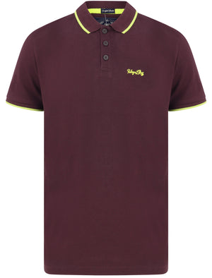 Noel Cotton Pique Polo Shirt with Neon Tipping In Plum Perfect – Tokyo Laundry