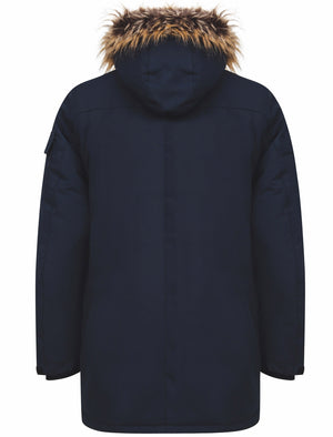Nolte Utility Parka Coat with Borg Lined Faux Fur Trim Hood in Navy - Tokyo Laundry