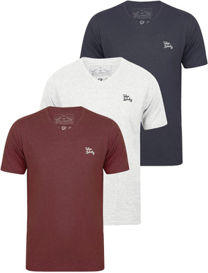 Nousu (3 Pack) V Neck Cotton T-Shirts In Ice Grey Marl / Vinyard Marl / Indigo Marl - Tokyo Laundry