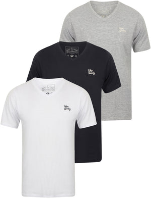 Nousu (3 Pack) V Neck Cotton T-Shirts In White / Light Grey Marl / Dark Navy - Tokyo Laundry