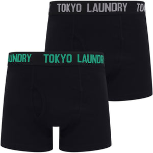 Oceana (2 Pack) Boxer Shorts Set in Jelly Bean Green / Light Grey Marl – Tokyo Laundry