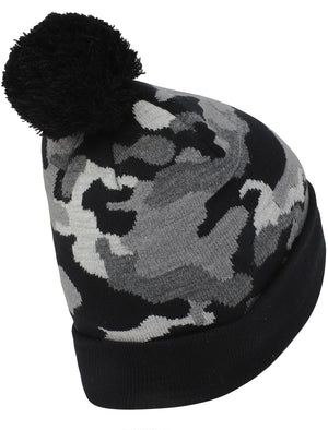 Boys Jacquard Winter Hat Choice of Colours Black Blue or Grey Size 2-6 Years