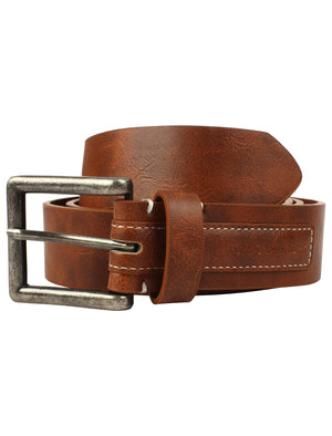Oxnoble Faux Leather Belt with Debossed Patch In Tan – Tokyo Laundry