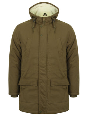 Parton Borg Lined Hooded Parka Jacket in Amazon Khaki - Tokyo Laundry