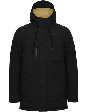 Patogonia Borg Lined Hooded Parka Coat in Black - Tokyo Laundry