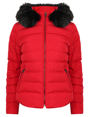 Pepper Quilted Hooded Jacket With Detachable Fur Trim In Crimson – Tokyo Laundry