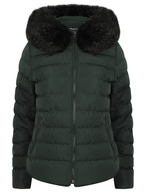 Pepper Quilted Hooded Jacket With Detachable Fur Trim In Dark Green – Tokyo Laundry