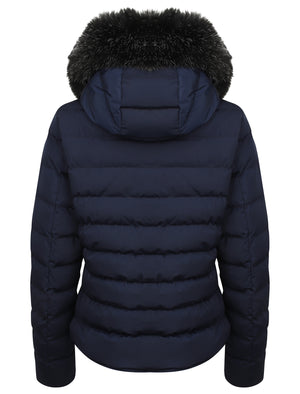 Pepper Quilted Hooded Jacket With Detachable Fur Trim In Peacoat – Tokyo Laundry