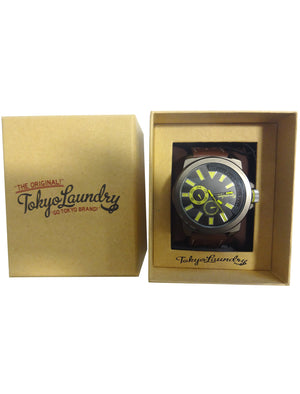 Peyton Analogue Watch in Dark Brown - Tokyo Laundry