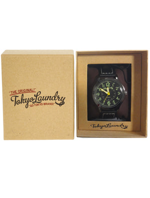 Pierce Analogue Watch In Black / Black - Tokyo Laundry