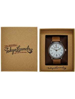 Pierce Analogue Watch In Brown / White - Tokyo Laundry