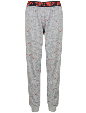 Pippy Stag Heart Print Cotton Lounge Pants In Dark Denim - Tokyo Laundry