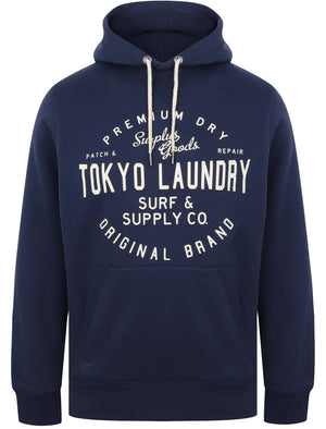 Portopalo Cove Brush Back Fleece Pullover Hoodie In Medieval Blue – Tokyo Laundry