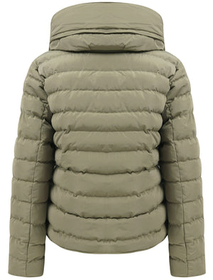 Quince Quilted Puffer Jacket with Extendable Hood in Mermaid Khaki - Tokyo Laundry