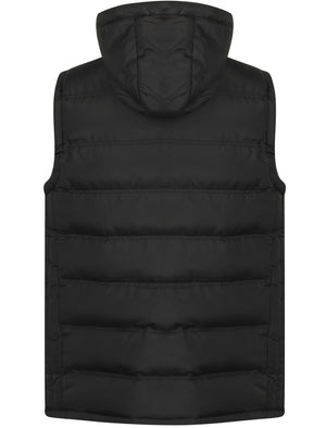 Redshift Quilted Puffer Gilet with Checked Lined Hood in Black – Tokyo Laundry