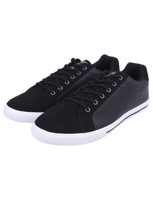 Richmondy Perforated Faux Leather / Suede Low Top Lace Up Trainers in Black – Tokyo Laundry