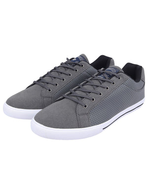 Richmondy Perforated Faux Leather / Suede Low Top Lace Up Trainers in Grey – Tokyo Laundry