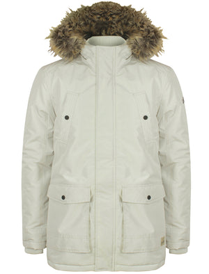 Ridgecrest Fur Trim Hooded Parka Coat in Winter White - Tokyo Laundry