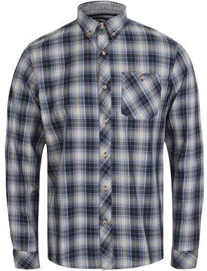 Roma Checked Long Sleeve Cotton Shirt In Bijou Blue - Tokyo Laundry