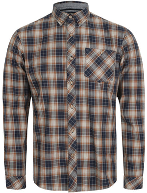 Roma Checked Long Sleeve Cotton Shirt In Sepia Grey - Tokyo Laundry