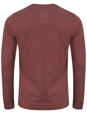 Rowe Creek Applique Long Sleeve Top In Bordeaux Marl - Tokyo Laundry