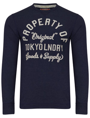Rowe Creek Applique Long Sleeve Top In Dress Blues- Tokyo Laundry