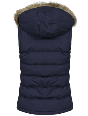 Roxi Fur Trim Hood Padded Gilet in Midnight Blue - Tokyo Laundry