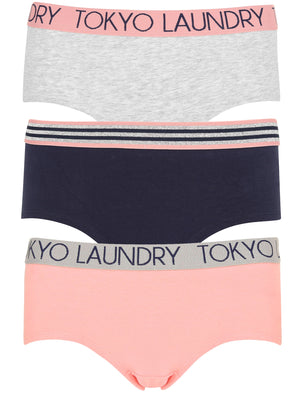 Sabrina (3 Pack) Assorted Hipster Briefs In Light Grey Marl / Peacoat Blue / Bridal Rose – Tokyo Laundry