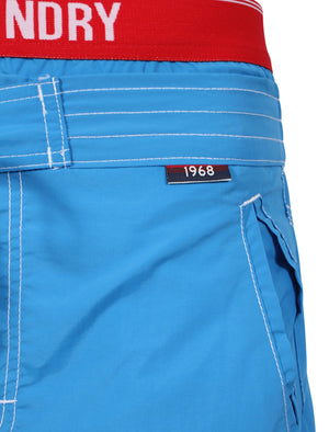 Schader Swim Shorts with Waistband Insert in Blue - Tokyo Laundry