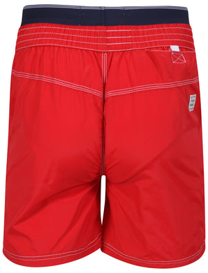 Schader Swim Shorts with Waistband Insert in Red - Tokyo Laundry