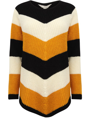 Sena Chevron Colour Block Knitted Jumper in Gold / Black / Ivory – Tokyo Laundry