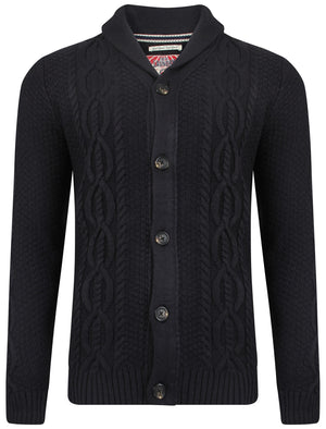 Men's cable knit chunky navy cardigan - Tokyo Laundry