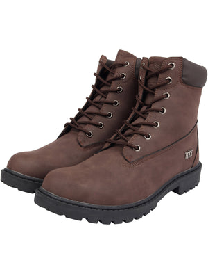 Sirius Faux Leather Lace Up Hiking Style Boots in Brown – Tokyo Laundry