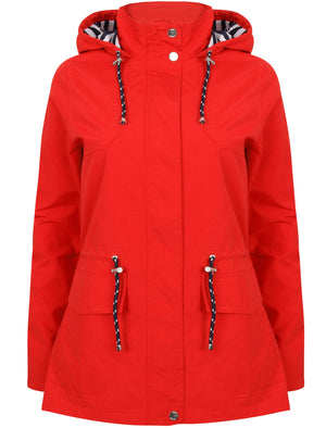 Snap Dragon Hooded Rain Coat in Red - Tokyo Laundry