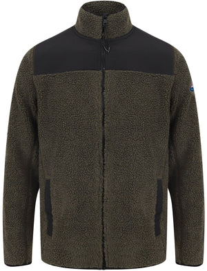 Southwell Teddy Borg Fleece Funnel Neck Hoody in Dusty Olive - Tokyo Laundry