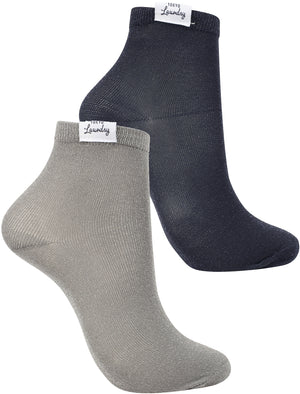 Sparkle (2 Pack) Metallic Glitter Ankle Socks in Grey / Navy - Tokyo Laundry