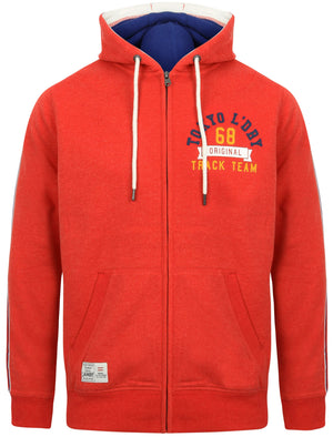 Springbrook Zip Through Hoodie with Tape Detail In Red Marl - Tokyo Laundry