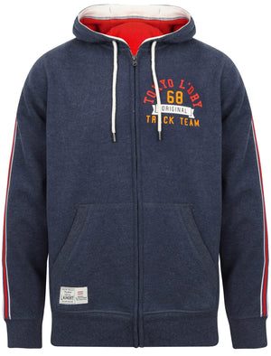 Springbrook Zip Through Hoodie with Tape Detail In Medieval Blue Marl – Tokyo Laundry