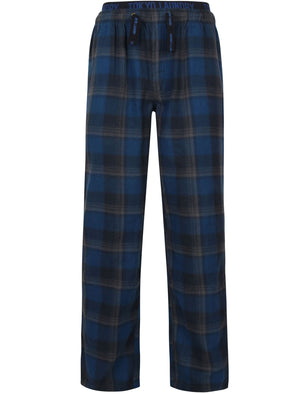 Stamford Flannel Checked Lounge Pants In Estate Blue - Tokyo Laundry